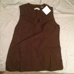 NWT Brown Pleated Plunge Sleeveless Top